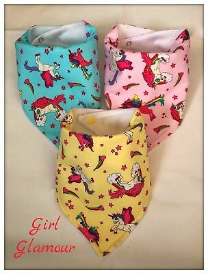 PACK 3 Baby Bandana Dribble Bib Bibs Pink Unicorn Fabric Headband Dress Food