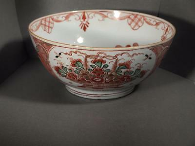 Chinese Export Qianlong Period Clobbered Punch Bowl circa 1745