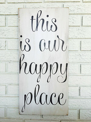 """Large Rustic Wood Sign - """"This Is Our Happy Place"""" -  Farmhouse Style"""