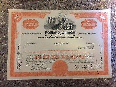 Howard Johnson Stock Certificate *FREE SHIPPING*