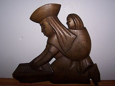 Vintage Carved Wood Mother & Child Figure Sculpture Wall Hanging Ethnic Tribal
