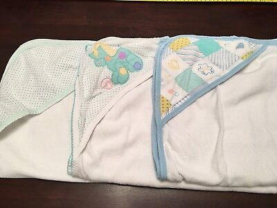3 Baby Hooded Towels Green White Horse Patchwork
