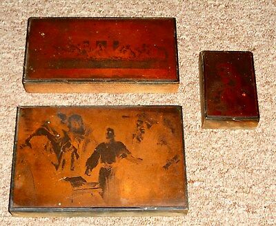 Antique Copper Engraving Printing Plates Religious Last Supper & More Look  !