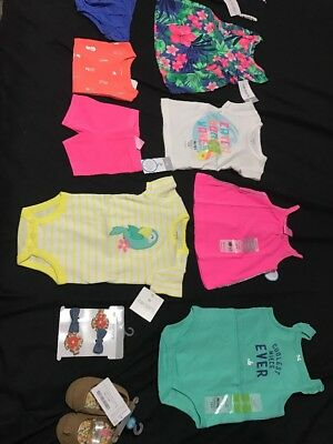 Carters Lot Of 12 Items Girl 3 Months Boho NWT value $168 Shoes Tops Dress Etc