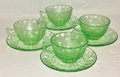 4 Jeannette FLORAL/POINSETTIA GREEN *CUPS & SAUCERS*