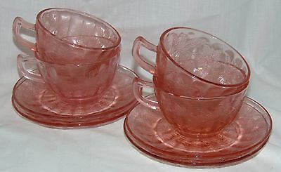 4 Jeannette FLORAL/POINSETTIA PINK *CUPS & SAUCERS*