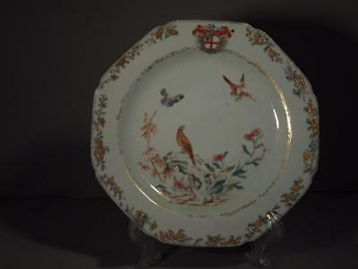 Chinese Export 18th Century Grisaille Armorial Plate with Hawk