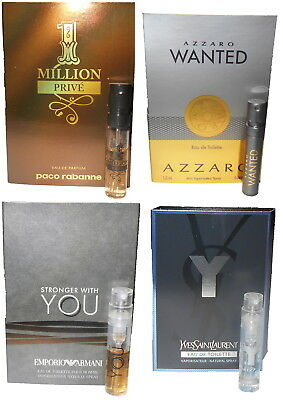 4 Men`s Cologne Samples Lot Yves Saint Laurent Y 1 Million Prive Azzaro Wanted
