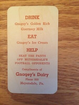 Vintage 1952 Meyersdale Football Schedule/gnagey's Dairy Advertising