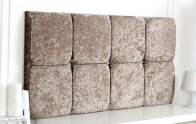 "Diamante Deluxe Crushed Velvet Headboard 26"" Height Choose Colour + Free P & P!"
