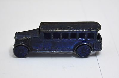 """Cracker jack metal blue bus toy approx 1 3/4"""" long bus toy"""