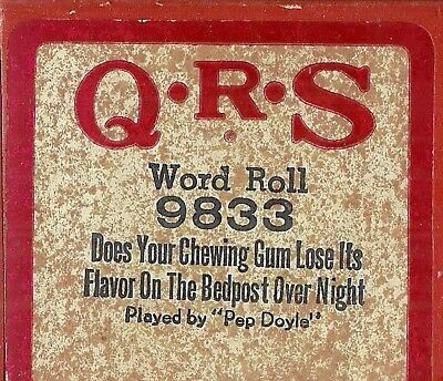 Does Your Chewing Gum Lose Its Flavor, PB Pep Doyle QRS 9833 Piano Roll original