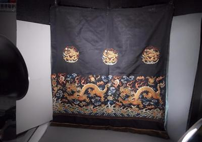 Important Chinese Antique Qing Dynasty Large Dragon Kesi Panel