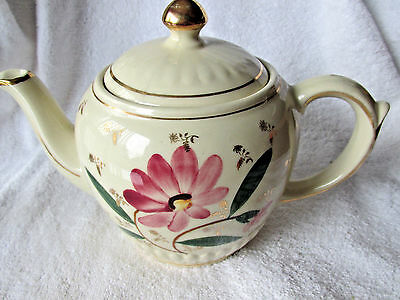 Vintage Shawnee Pottery Gold Trim Vertical Ribbed Red Flower Teapot