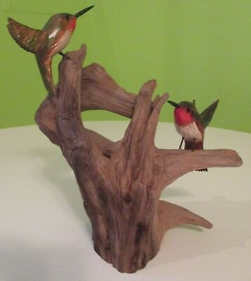 Vintage Ruby Throated Hummingbird Sculpture on Driftwood Signed Bird Carved Wood