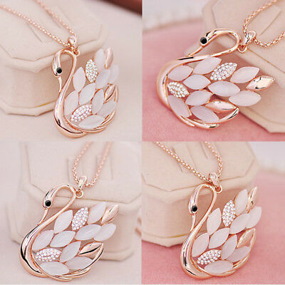 Lady Rose Gold Plated Cat eye Crystal Swan Pendant Necklace Sweater Chain RT67