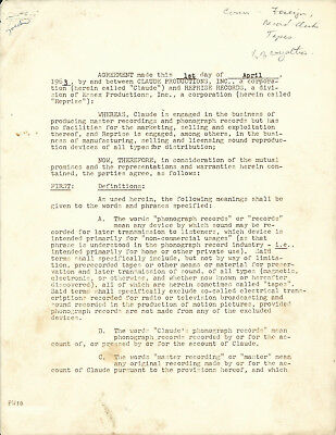 Dean Martin Vintage 17-Page Signed Recording Contract With Reprise Records