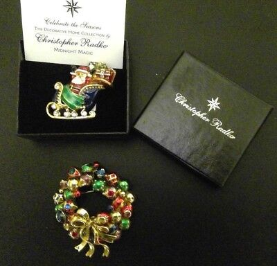 Lot Of 2 Signed Christopher Radko Christmas Pins/brooches Santa On Sleigh Wreath