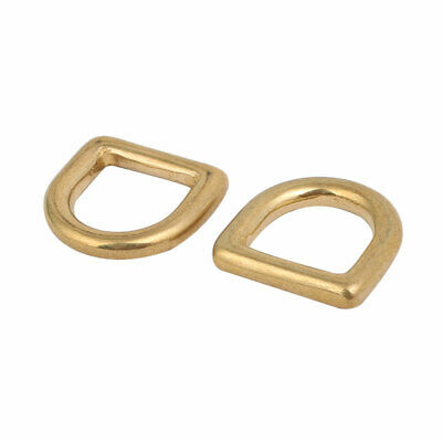 13mm Inner Width Brass Close End Type D Shaped Welded Ring Gold Tone 2pcs