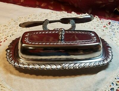 Vintage Metal Irvinware Covered  Butter Dish W/ Butter Knife And Tray
