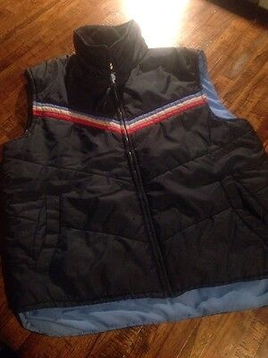 Vintage 80s SEARS Blue Ski Vest Puffy Outerwear Red Gray L
