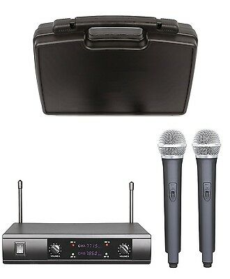 Brand New UHF Dual Wireless Microphone with Carrying Case