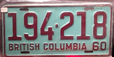 Vintage 1960  BRITISH COLUMBIA   License Plate 194-218