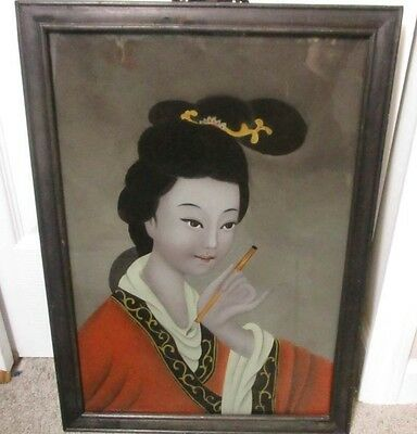Vtg Oriental Japanese Chinese Reverse Paint Geisha Painting Antique Picture