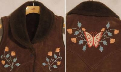 VTG 70s BUTTERFLY FLOWERS EMBROIDERED SUEDE LEATHER & SHERPA VEST Sz L - M  BOHO