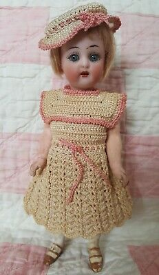 "6.25"" Rare Antique Early German Bisque  Halbig K * R Sleep Eyes Dollhouse Doll"
