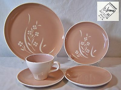 5 Pcs Lot Harkerware Pink Summertime Place Setting Incised Plates Cup Saucer