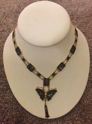 Vintage Necklace 24K Gold Plated JAPAN Butterfly Damascene Gold tone Chain Black