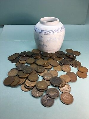Antique Oriental Vase Or Pot Containing 100 Old Pennies