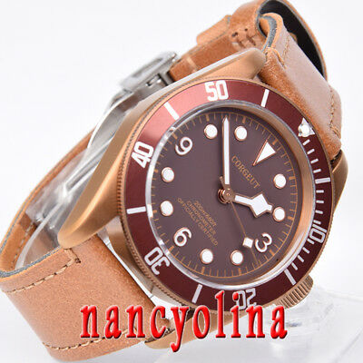 41mm Corgeut Coffee dial brass coated case sapphire glass Miyota automatic watch