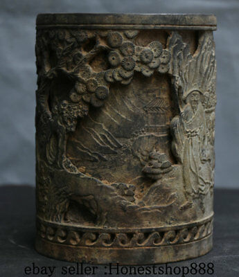"5"" Old China Bronze Dynasty Pine Tree People Man official Brush Pot Pencil Vase"