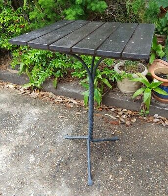 metal twisted leg wooden top outside patio table 54cm x 56cm x 76cm tall