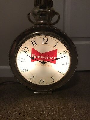 Vintage Budweiser Lighted Clock Sign Synchron Pocket Watch Design WORKING #'d