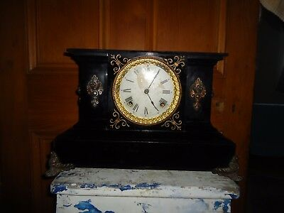 Antique Mantle Clock, Ansonia Clock Co, Black Gold Marble, New York USA