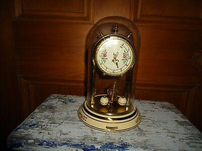 Antique Gold Glass Metal Clock Round base, Aug. Schatz & S'ohne Germany