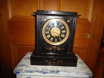 Antique Marble clock black gold inlay heavy