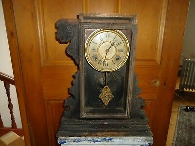 Antique Wooden mantle clock, branded Welch