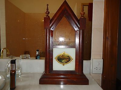 Antique 1902 Ansonia Clock Co USA wooden mantle clock gold hand painting