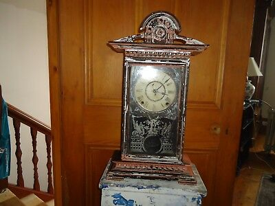 Antique Wooden mantle clock glass door hand carved