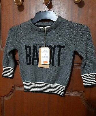 cotton on kids knitted crew grey size 2