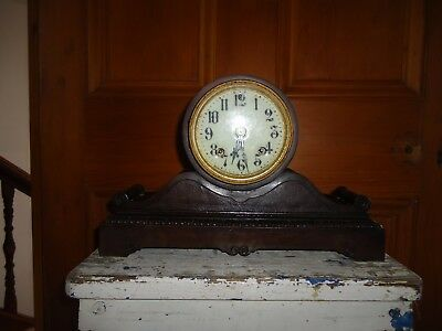 Antique metal brass mantle clock, Ansonia Clock Co USA