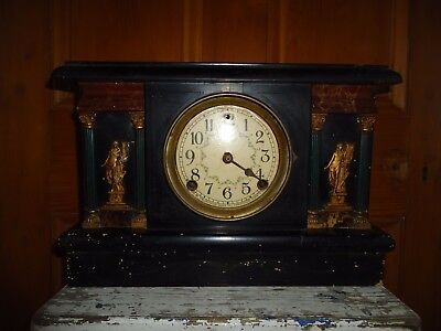 Antique Sessions mantle clock, wooden marble look a like