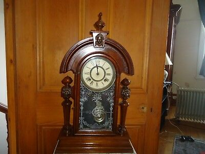 Antique Ansonia Clock Co wooden mantle clock