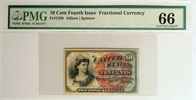 10 Cent 4th Issue Fractional Currency FR. #1259 PMG GEM UNC. 66 only 3 higher