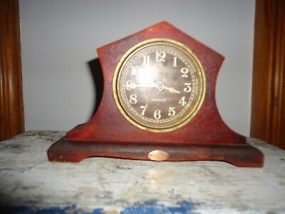 Antique Moonlite bedside alarm clock wooden metal
