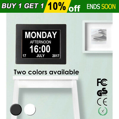 "8"" LED Large Time Day/Week/Month/Year black Dementia Digital Calendar Clock AU"